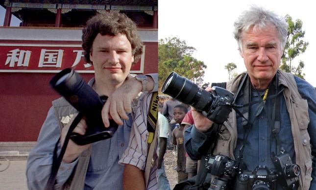 O fotógrafo Jeff Widener durante a cobertura do Massacre da Praça da Paz Celestial, em 1989 (à esquerda), e nos dias de hoje (à direita)