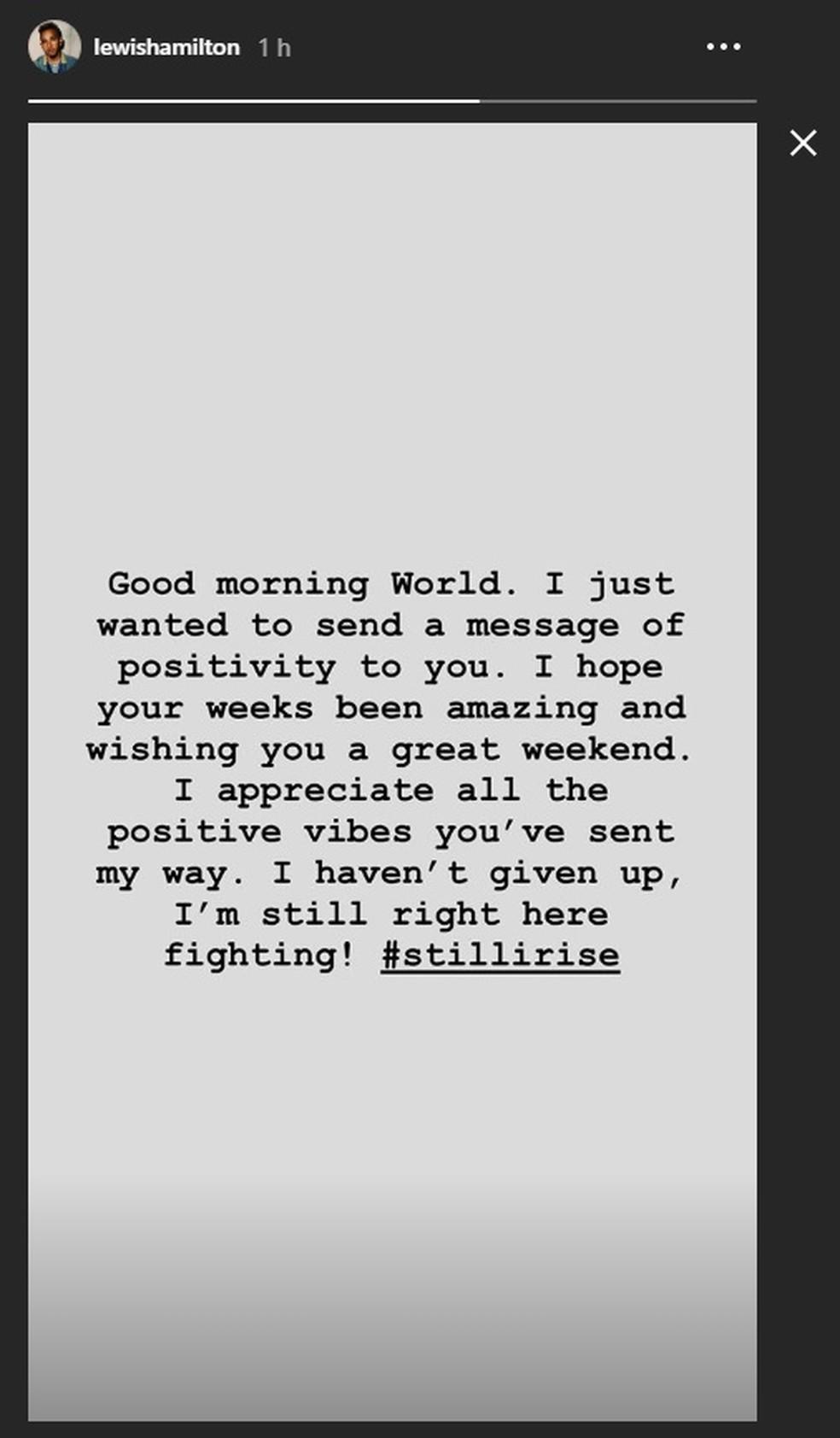 """Lewis Hamilton posta nas redes sociais que está """"lutando"""" — Foto: Reprodução/rede social"""
