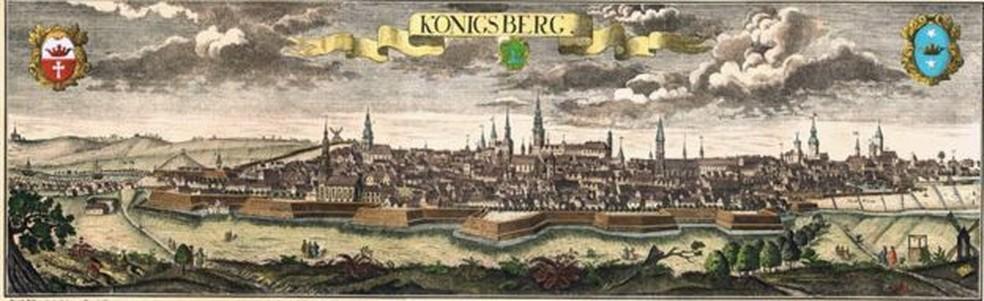 Pontes de Königsberg deram origem a dilema matemático.... — Foto: BBC