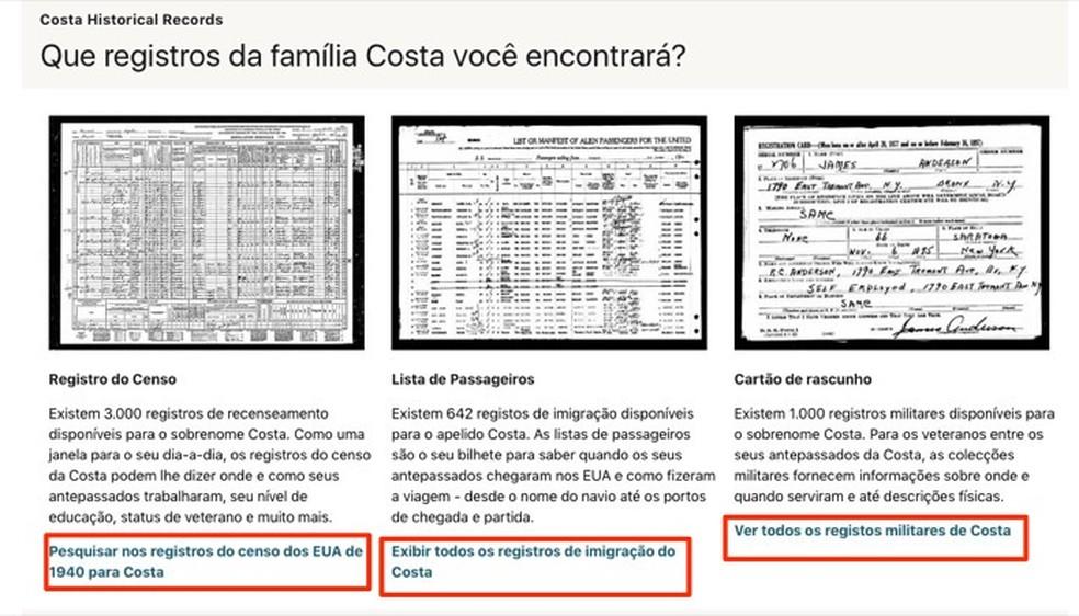Documentos oficiais que com registros de um sobrenome encontrados pelo site Ancestry — Foto: Reprodução/Marvin Costa