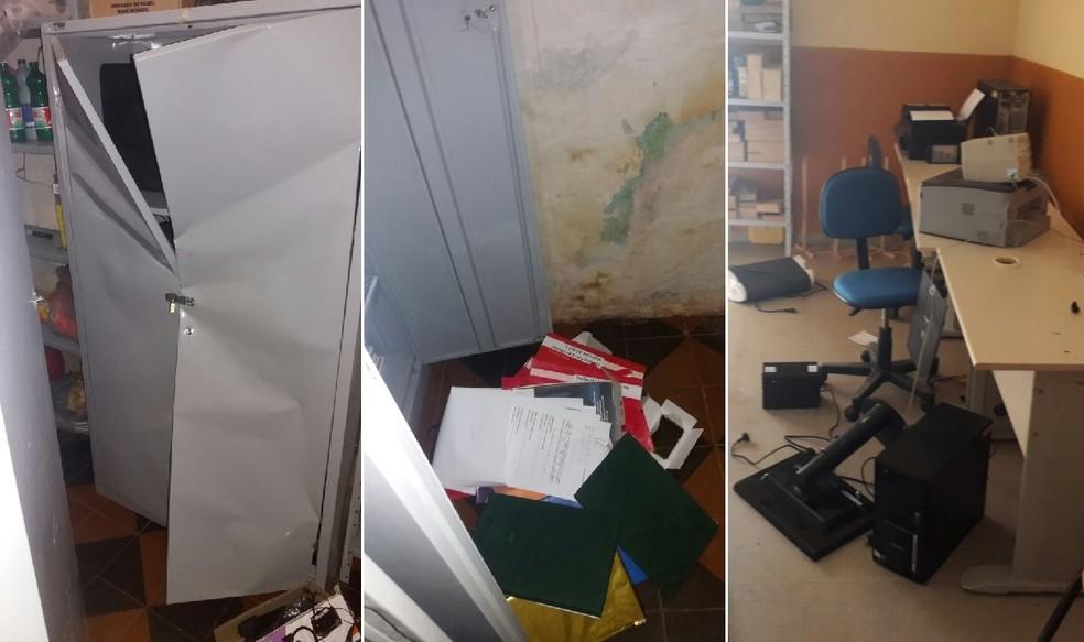 Além de arrombar armários, criminosos espalharam documentos e destruíram equipamentos (Foto: César Fernandes)