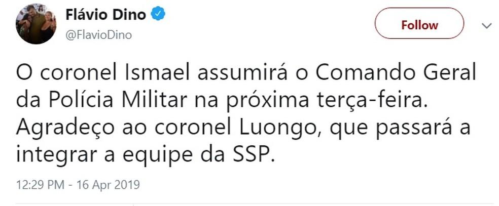 Governador Flávio Dino anuncia a saída do coronel Luongo do comando da Polícia Militar — Foto: Reprodução/Redes Sociais