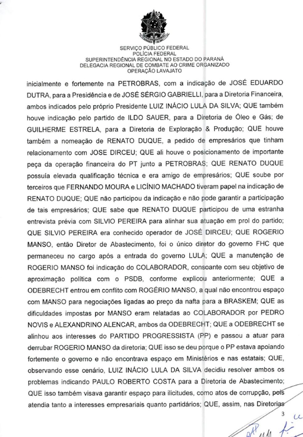 Termo de delação do Palocci pg2 — Foto: Reprodução