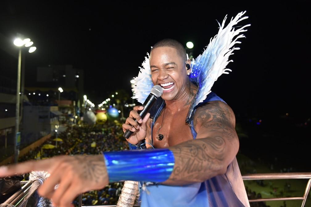 Léo Santana no terceiro dia do carnaval de Salvador, neste sábado (22). — Foto: Elias Dantas/Ag. Haack