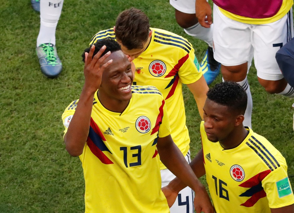 Mina voltou a brilhar pela Colômbia e fez o gol da vitória sobre Senegal. Ele trabalhou com Cuca no Palmeiras (Foto: David Gray/Reuters)