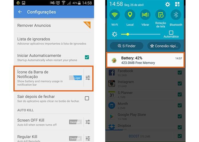 Ative a notificação de bateria e RAM na barra do Android para controlar a carga (Foto: Reprodução/Barbara Mannara)