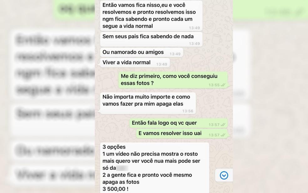 Conversa mostra tentativa de extorquir jovem ameaçando divulgar fotos íntimas dela em Goiânia  — Foto: Reprodução/TV Anhanguera