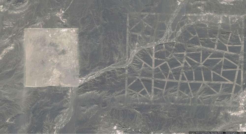 Estruturas em forma geométrica no Deserto de Gobi (Foto: Google Earth)