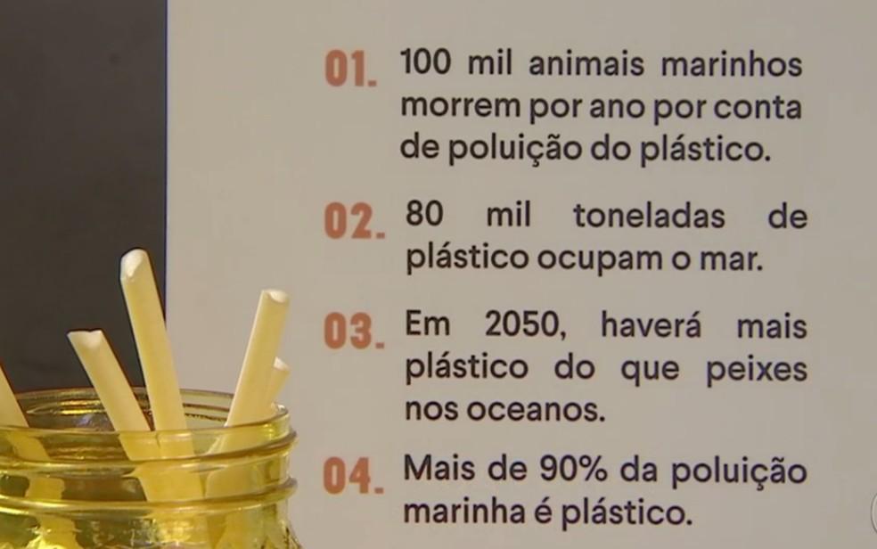 Canudo de macarrão já é usado por rede de lanchonetes como alternativa ao de plástico — Foto: Reprodução/TV Anhanguera