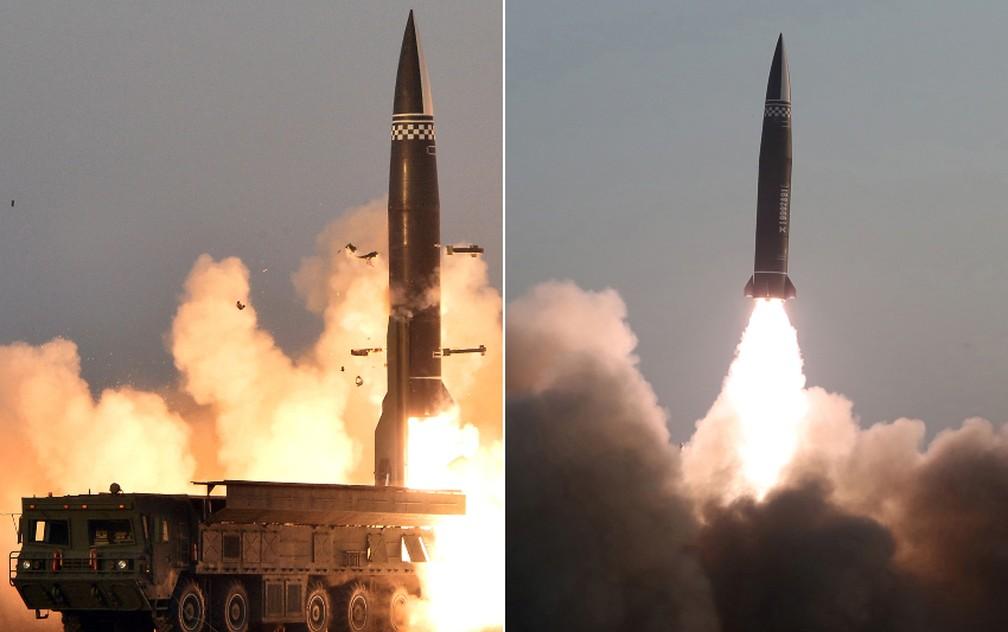 Fotos mostram novo míssil da Coreia do Norte durante teste realizado nesta quinta-feira (25) — Foto: KCNA via REUTERS