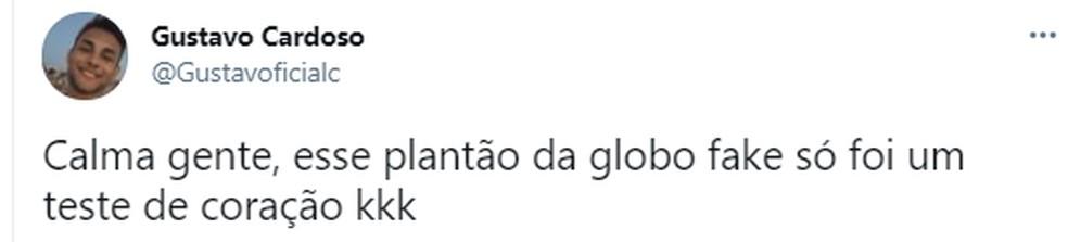 Público repercute nas redes sociais a vinheta do Plantão da Globo exibida por engano — Foto: reprodução/twitter