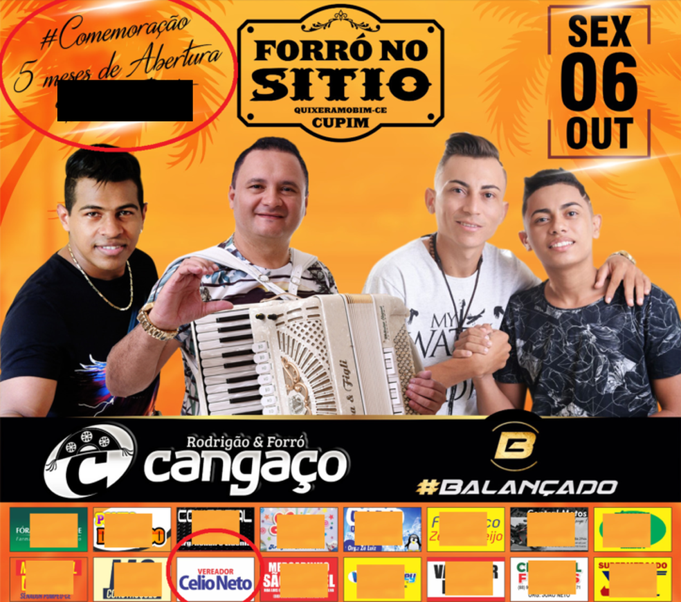 Cartaz de divulgação do evento que celebra abertura de prostíbulo cira vereador como patrocinador (Foto: Reprodução)