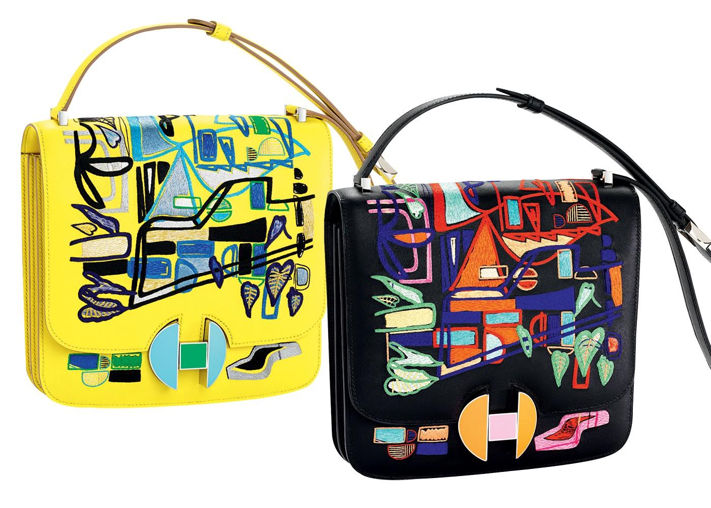 Bolsas 2002, da Hermès, com ilustração inspirada na arquitetura modernista brasileira, do carioca Filipe Jardim (Foto: Edward Hendricks/Divulgação)