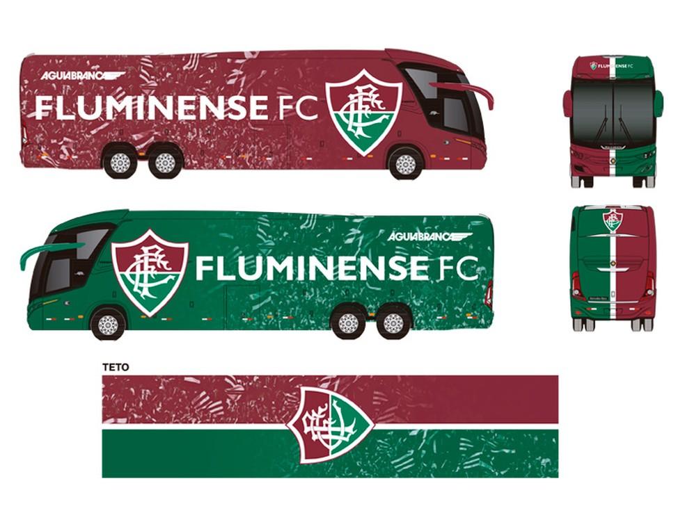 1ª opção de pintura do ônibus do Fluminense — Foto: Divulgação / Fluminense
