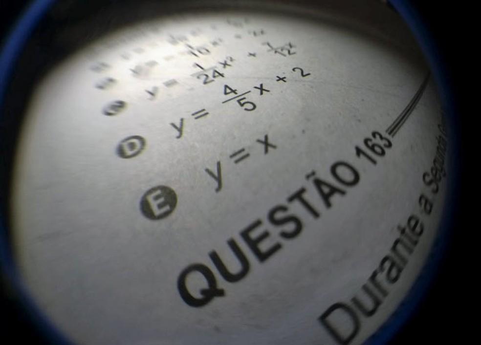 Detalhe de questão de matemática do Enem (Foto: Arquivo/G1)
