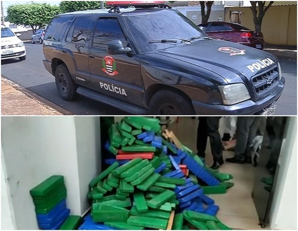 Policiais civis foram presos ao serem flagrados escoltando carro com uma tonelada de maconha  — Foto: Reprodução/TV TEM