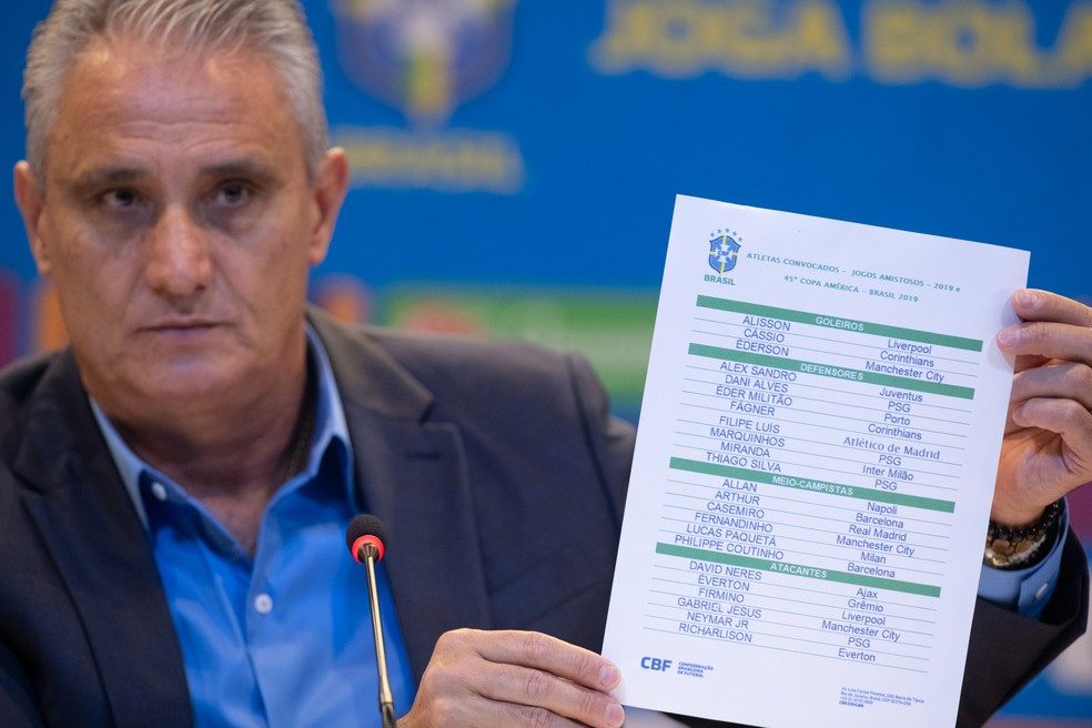 Tite durante convocação da seleção brasileira na CBF — Foto: Pedro Martins / MoWA Press