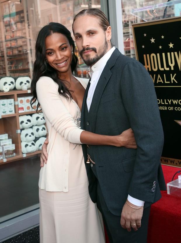 Zoe Saldana e o marido, Marco Perego (Foto: Getty Images)