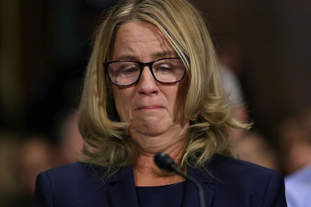 Christine Blasey Ford depõe no Senado dos EUA em 27 de setembro — Foto: Win McNamee/Pool via Reuters