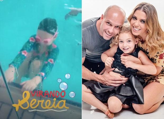 Sheila Mello marca ex Fernando Scherer em vídeo de aula de natação da filha (Foto: Reprodução)