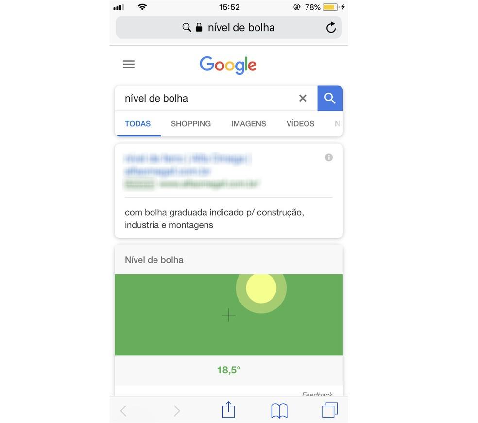 Google tem nível de bolha de construção exclusivo na versão para celular (Foto: Reprodução/Rodrigo Fernandes)