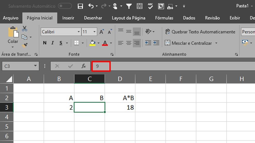 Os valores da célula passarão a ser exibidos somente na barra de fórmulas (Foto: Reprodução/Daniel Ribeiro)