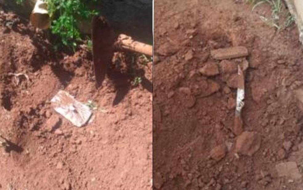 Adolescente de 15 anos indica à polícia local onde estavam enterrados o celular da vítima e a faca usada no crime — Foto: Polícia Civil de Goiás/Divulgação
