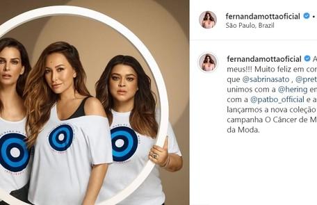 Há dois anos, modelo posou para campanha de conscientização contra o câncer Reprodução/Instagram
