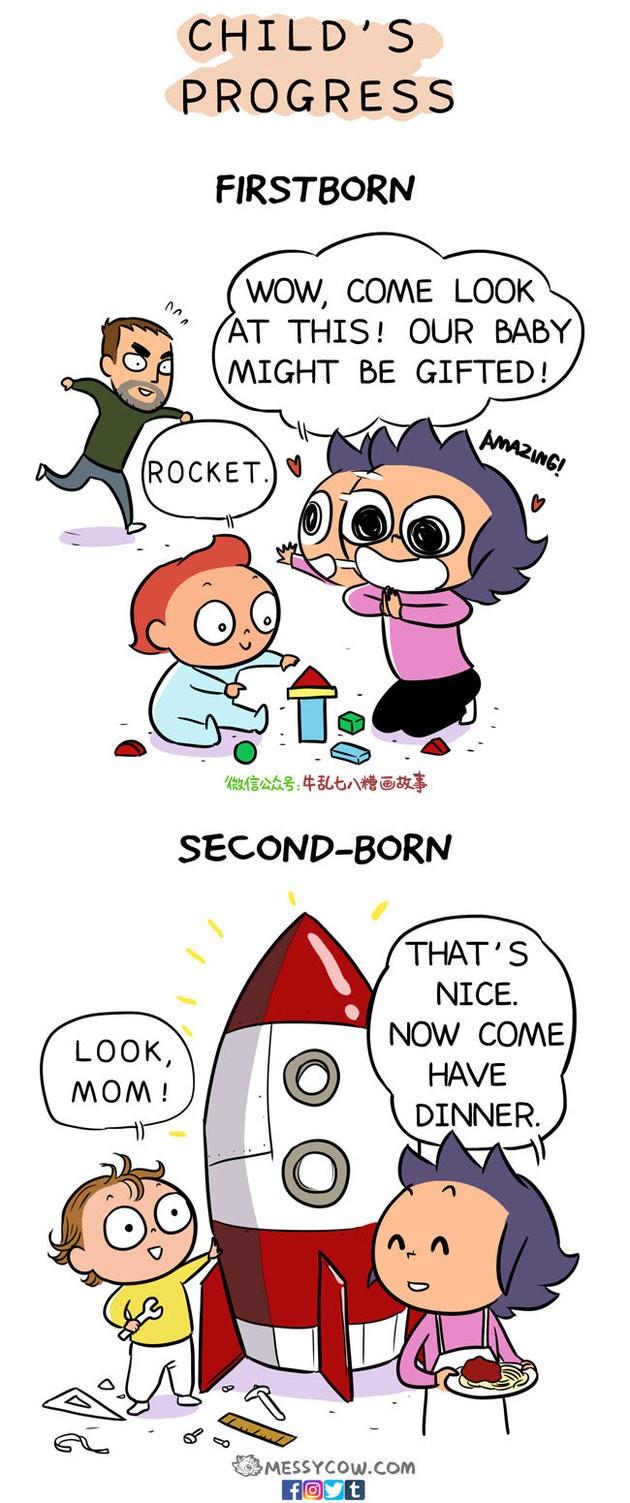 PROGRESSO INFANTIL. Primeiro filho - Bebê: Foguete. Mãe: Nossa, vem ver isso. Pode ser que nossa bebê tenha um dom. Segundo filho - Bebê: Olha, mãe. Mãe: Que legal. Agora venha jantar (Foto: Weng Chen)