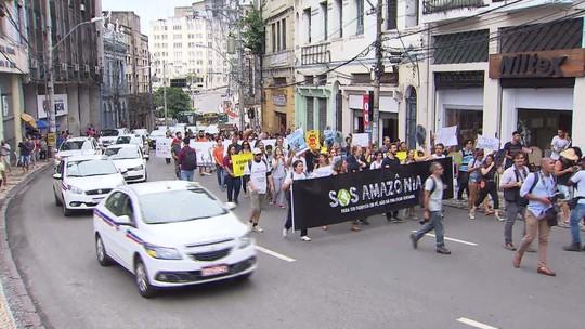 Manifestantes fazem atos em defesa da Amazônia no país e no exterior