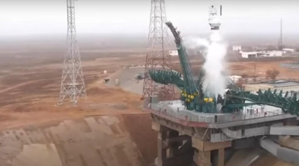Nanossatélite brasileiro NanosatC-BR2 foi lançado nesta madrugada de segunda-feira (22), no Cazaquistão — Foto: Reprodução/Ministério da Ciência, Tecnologia e Inovações