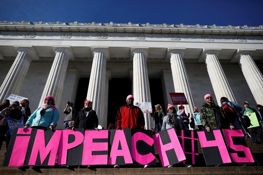 Manifestantes se reúnem para segunda Marcha das Mulheres, em Washington (Foto: Aaron Bernstein/Reuters)