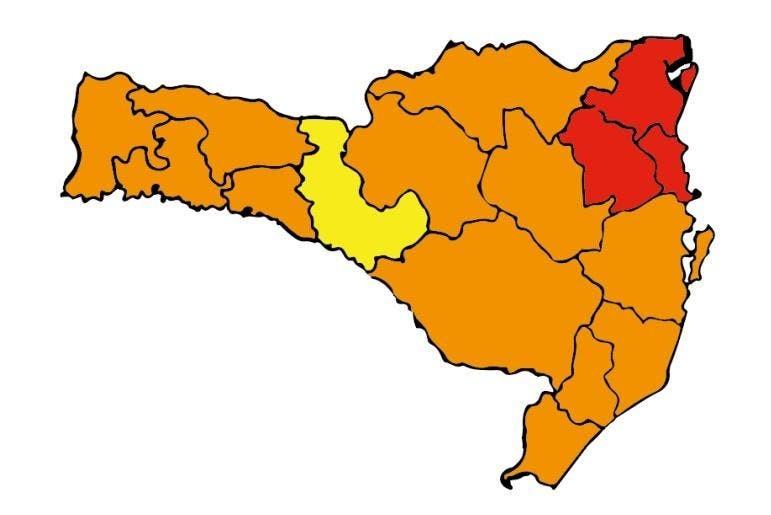 Mapa de Risco: SC tem três regiões em risco gravíssimo para Covid-19