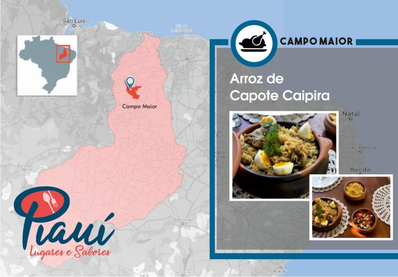 Piauí Lugares e Sabores: guia por Campo Maior traz receita de capote caipira, monumentos históricos e belezas naturais