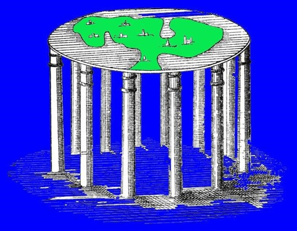 Ilustração da Terra, conforme descreviam os mitos dos Vedas, textos considerados sagrados pelos hindus que datam do primeiro e segundo milênio a.C. (Foto: Science Photo Library)