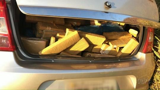 PRE apreende mais de 200 kg de maconha após motorista fugir de abordagem, na PR-323