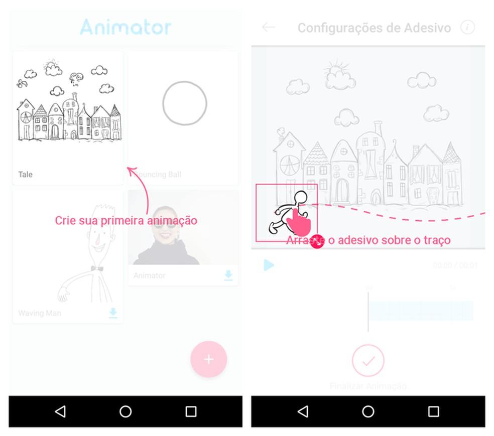Desenhos prontos ganham vida quando usuário edita os movimentos — Foto: Reprodução/Adriano