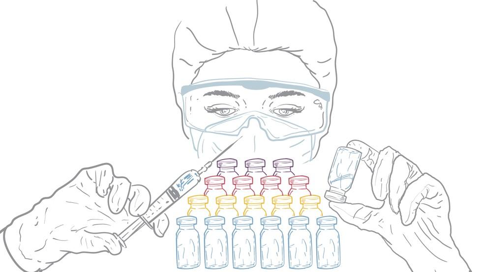 Ilustração mostra cientista com seringa na mão olhando para frascos — Foto: Guilherme Luiz Pinheiro/G1