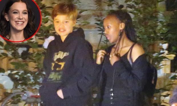 Shiloh e Zahara Jolie-Pitt curtem noite com Millie Bobby ...