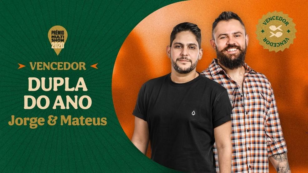 Jorge & Mateus vencem a categoria Dupla do Ano — Foto: Divulgação Multishow