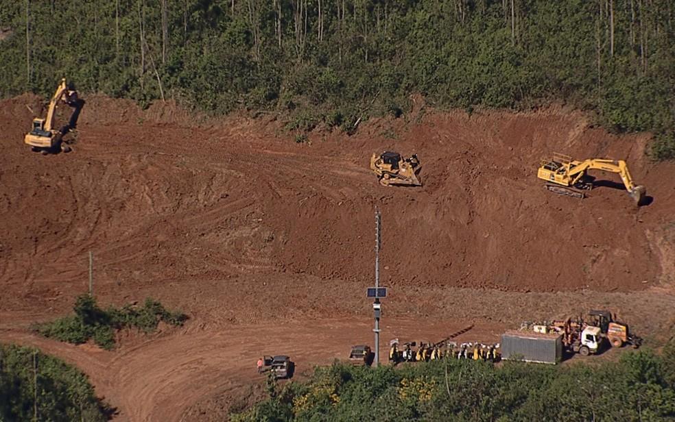 Vale realiza obras de contenção de lama e rejeitos de minério dentro da Mina Gongo Soco, em Barão de Cocais â?? Foto: Reprodução/Globocop