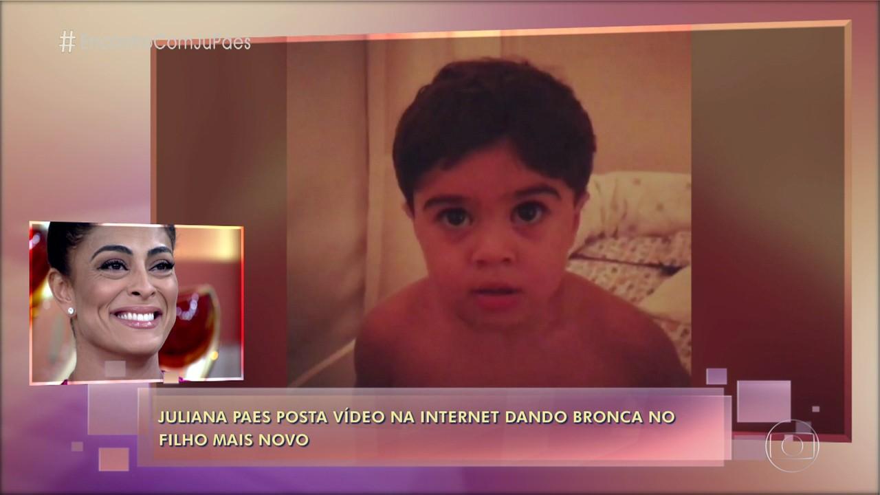 Juliana Paes mostra que educar dá trabalho e posta vídeo dando bronca no filho caçula