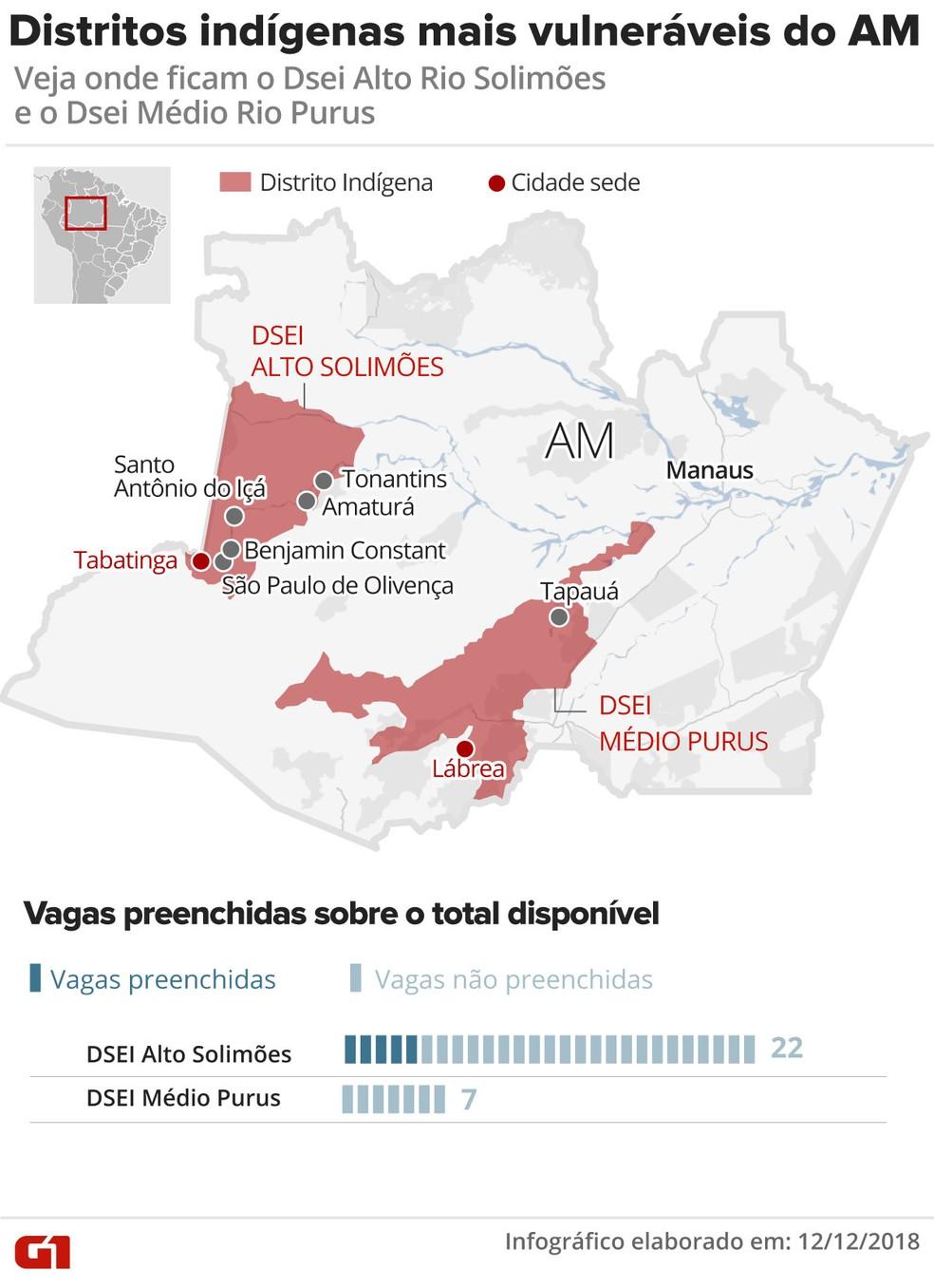 Mapa mostra os distritos indígenas mais vulneráveis do Amazonas — Foto: Karina Almeida e Roberta Jaworski/ Arte G1