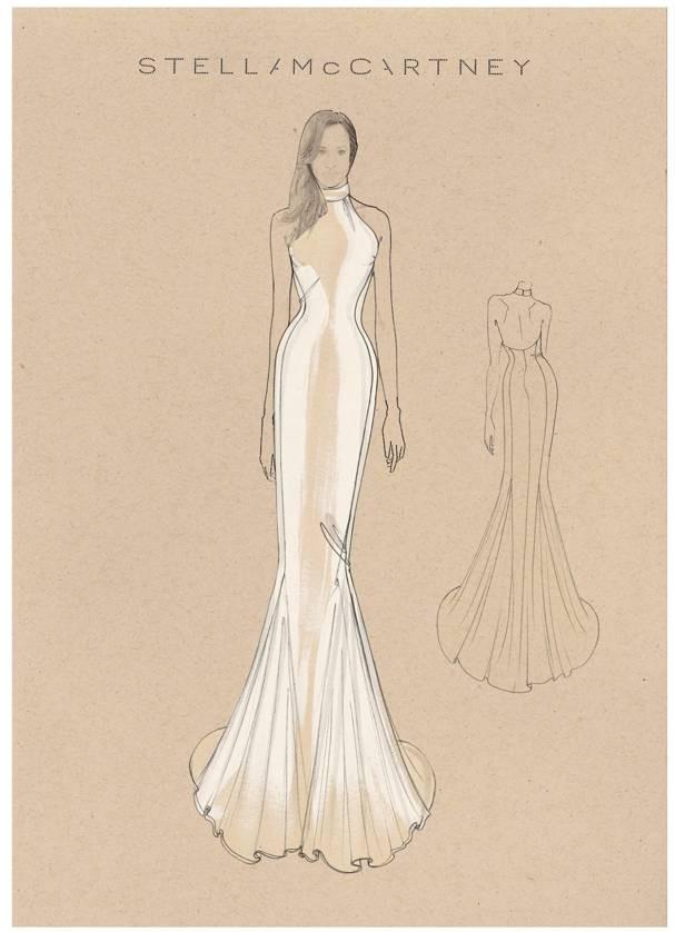 Croqui do vestido by Stella McCartney (que agora pode ser seu) (Foto: Divulgação)