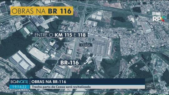 Obras geram pontos de lentidão na BR-116, perto da Ceasa, em Curitiba