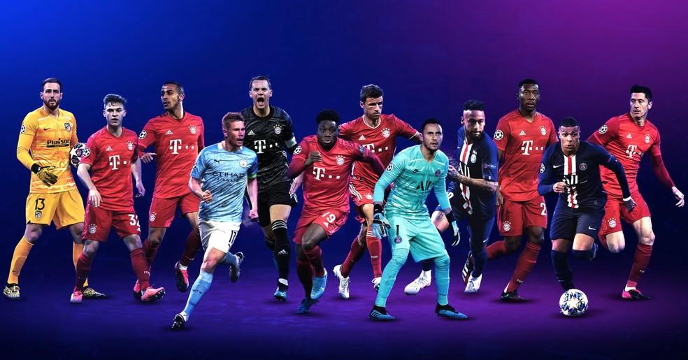 Candidatos aos prêmios de melhores jogadores por posição na Champions — Foto: Divulgação / Uefa