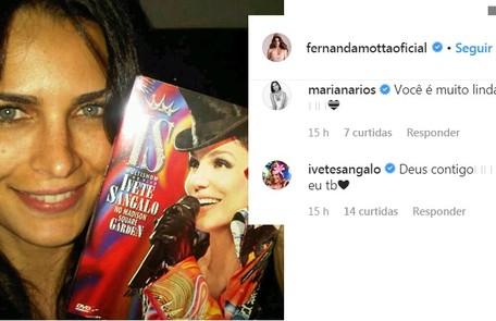 Fã e amiga de Ivete Sangalo, a modelo também ganhou força da cantora Reprodução/Instagram