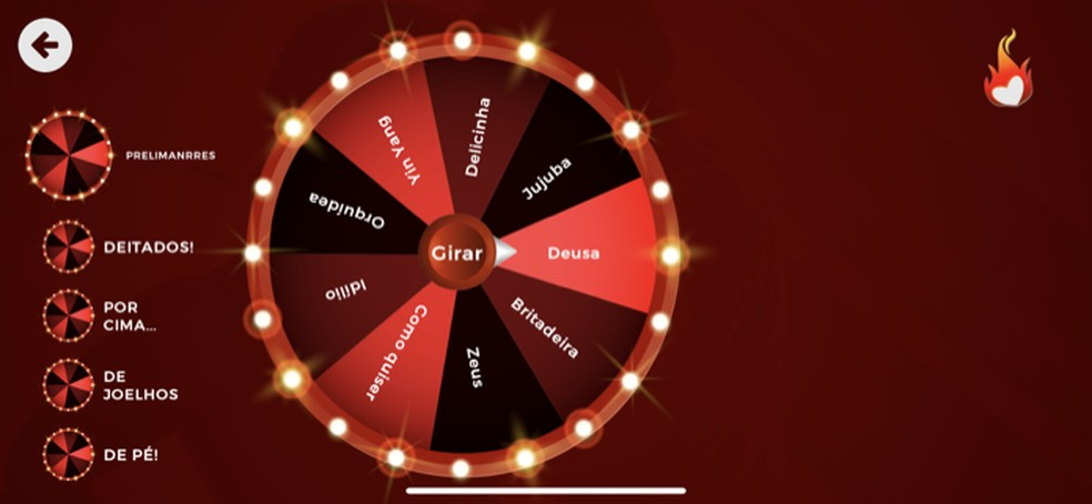 Tela do game A Roleta de Kamasutra no app Sex Roleta — Foto: Reprodução/Marvin Costa