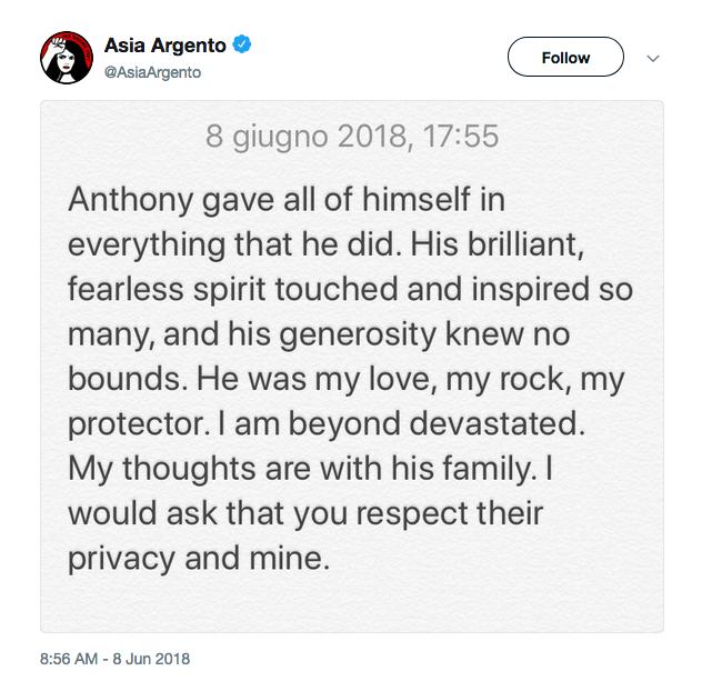 O texto compartilhado por Asia Argento lamentando a morte de Anthony Bourdain (Foto: Twitter)