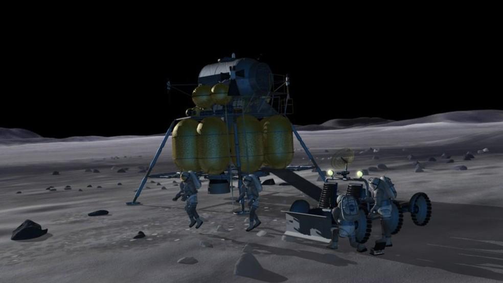 Estimativa é que os primeiros astronautas possam chegar à Lua em 2024 (Foto: Projeção/Nasa)